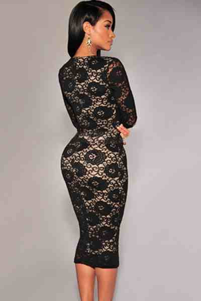 c9e167a0acb Black Long Sleeves Lace Midi Dress – The Billion Styles
