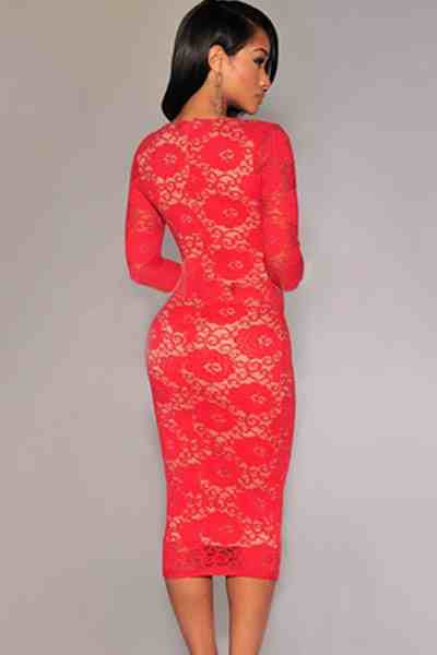 4ad1450c0de Red Long Sleeves Lace Midi Dress – The Billion Styles