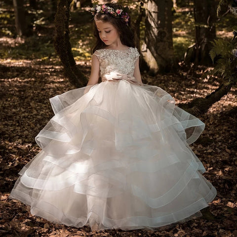 Flower Girls Lace Appliques Cap Sleeve Ball Gowns 3234980434c2