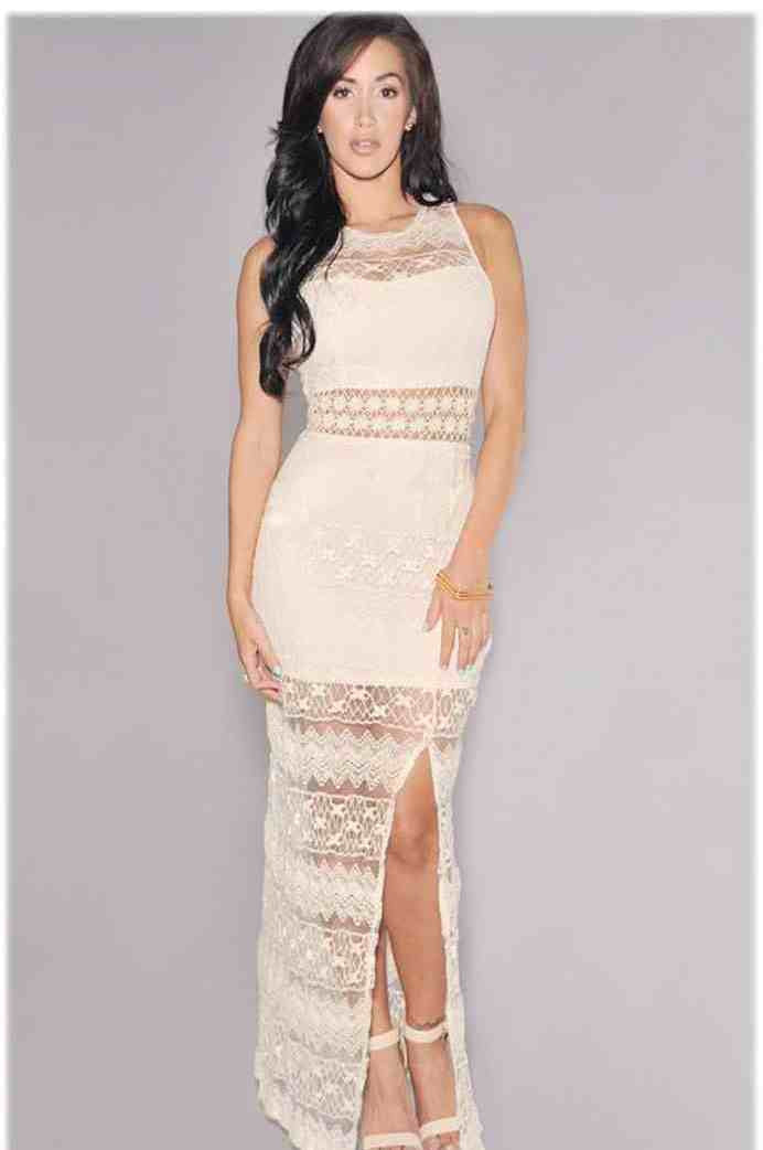 Woman O Neck Sleeveless Hollow Out Cream Lace Maxi Dress The