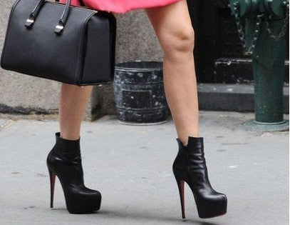 check out b0cff 52976 Fashion Suede and Pu Leather Red Bottom High Heels Shoes Ankle Boots