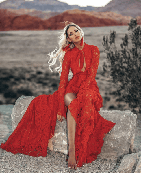 a8ea6642d0 Ariana Red Lace Maxi – The Billion Styles