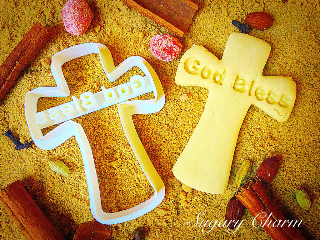 "Cross ""God Bless"" cookie cutter"
