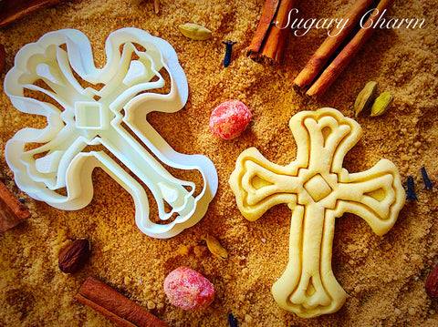 Cross with square cookie cutter