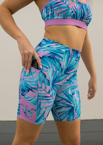 Womens Compression Bike Shorts With Side Pockets 'Sky Blue'