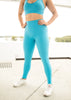 Womens Compression Full Length Tights With Side Pockets 'Sky Blue'