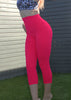 Womens Compression 3/4 Tights With Side Pockets 'Candy Apple'