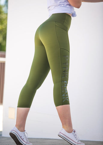 Squat proof compression pocket tights- Short Tights - Khaki