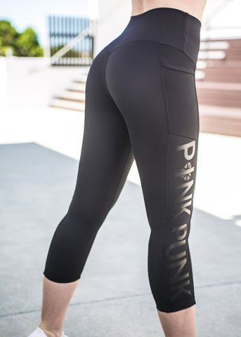 Womens Compression Full Length Tights With Side Pockets 'Jet Black'