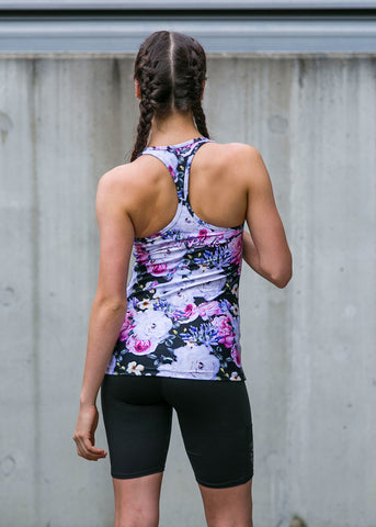 Womens Compression Racer Tank 'Snow Leopard'