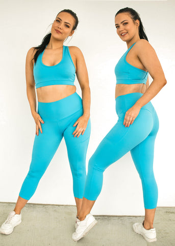 Womens Compression 3/4 Tights With Side Pockets 'Indigo'