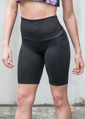 Womens Compression 3/4 Tights With Side Pockets 'GRAPHITE'