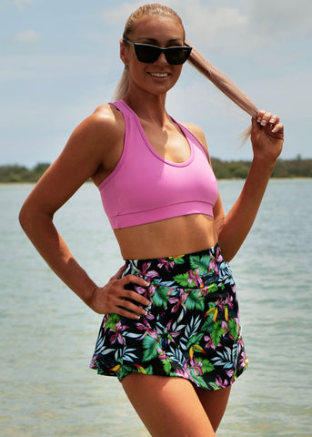 Womens Active Skort w ZIP pocket 'Neon Unicorn'