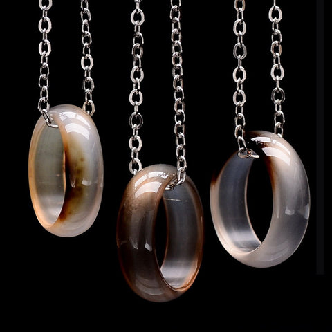 Brazilian Agate Irregular Natural Stone Quartz Pendant Statement Necklace