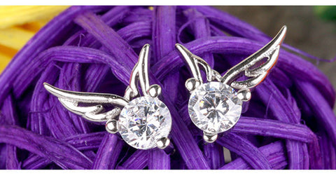 925 Sterling Silver Angel Wings Crystal Stud Earrings