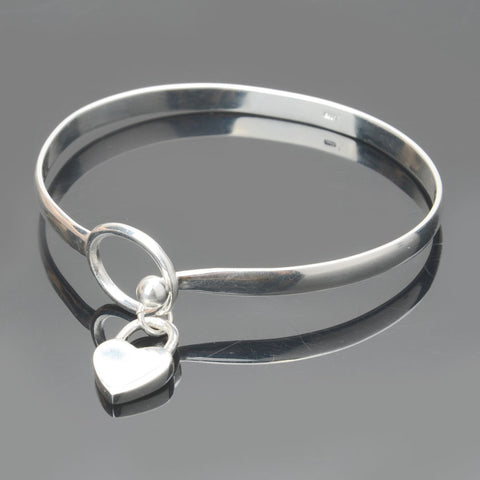 925 Sterling Silver Charm Peach Heart Bangle Bracelet