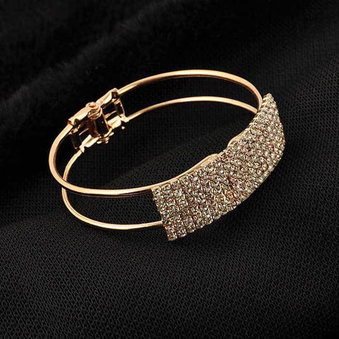 Womens Fashion Bangle Crystal Cuff Bracelet Bling Hand Chain