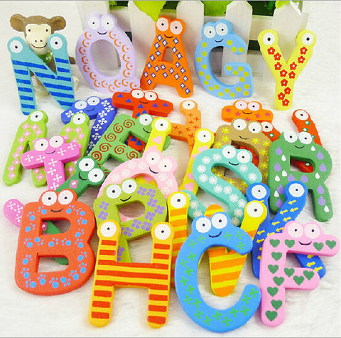 26pcs Wooden Alphabet Fridge Magnet Educational Toy