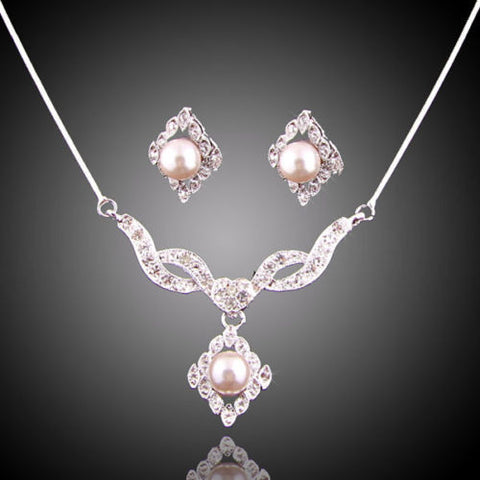 New Fashion Pendant Necklace Earrings Swarovski Element Crystal Jewelry Set