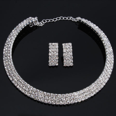 Charm Wedding Bridal Rhinestone Crystal Necklace Earring Plated Jewelry Set