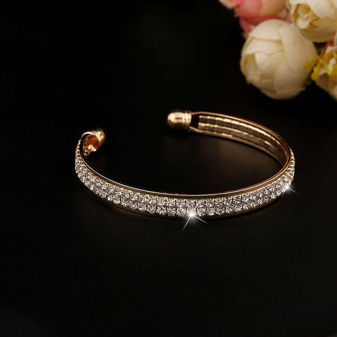 Crystal Rhinestone Bangle Cuff Bracelet For Women