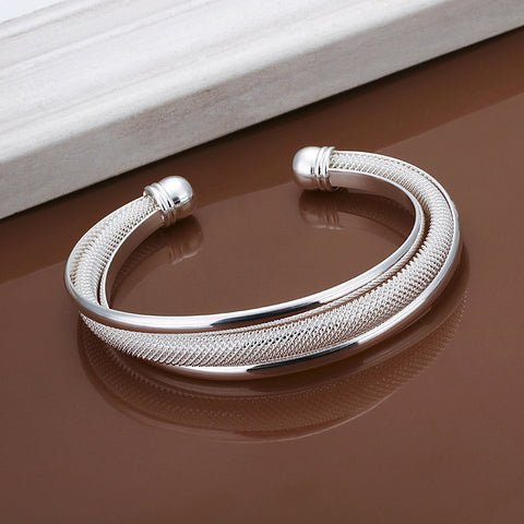 Women's Fashion Jewelry 925 Sterling Silver Plated Bangle Bracelet