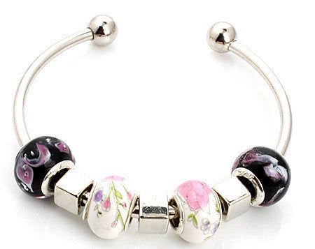 Handmade Porcelain Murano Glass & Metal Beaded European Charm Bracelet