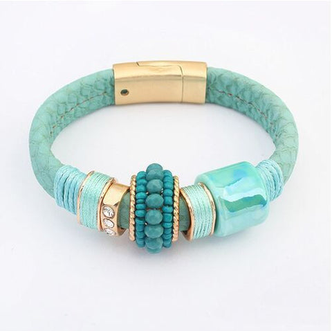 European Wild Temperament Gold Plated Agate Bracelets