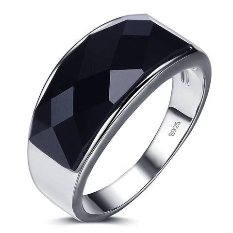 Black Agate Gemstone 925 Sterling Silver Men's Ring