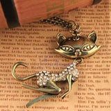 Cat Girl Crystal Rhinestone Long Necklace Retro Women Chain Pendant