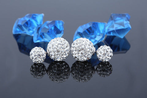 Womens 925 Silver Plated Double Crystal Ball Ear stud Earrings