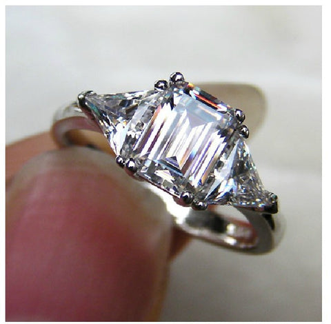 3 Carat NSCD Simulated Diamond Ring 3 Cut Stone 2 Trillion Cut Side Stones