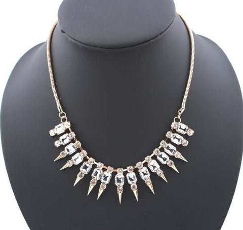 Collar Necklace Crystal Rhinestone Spike Choker Chain