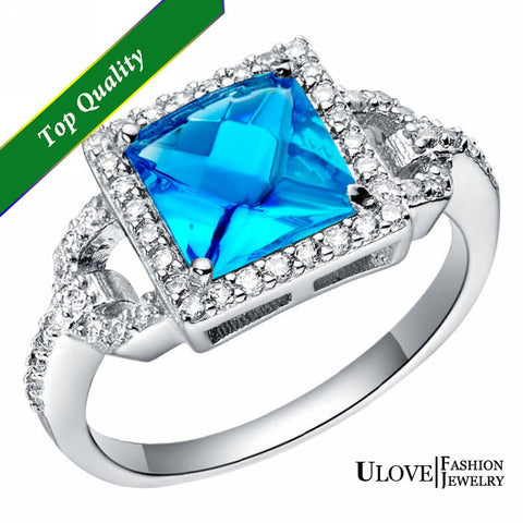 925 Sterling Silver CZ Ring  W /Blue Square Crystal Stone