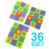 1'x1' 36 pcs 36 SQFT Kids Interlocking EVA Foam Alphabet Numbers 6 Color Mat