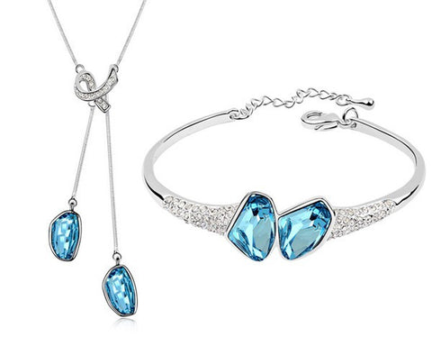 Blue Necklace Bracelet Set Made With Swarovski Elements
