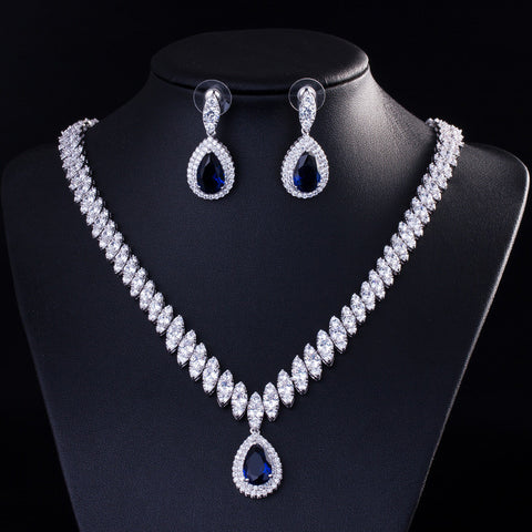 High End Zircon Drop Bridal Jewelry Sets