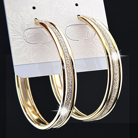 Gold Frosted Big Hoop Earrings for Women