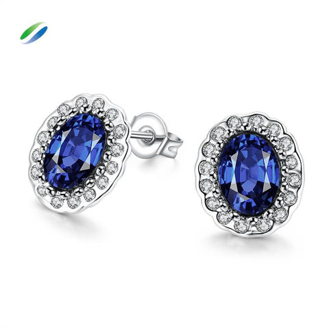 Blue Zirconium Sapphire Gold Plated Earrings