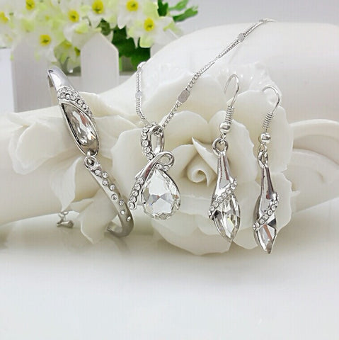 Crystal Jewelry Sets Pendants & Necklaces Stud Earring Bracelet Bangles Silver Chain Plated For Women