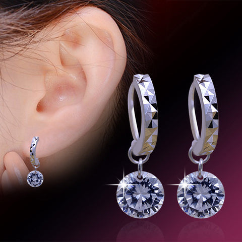 2PCS CZ Zirconia 925 Sterling Silver Hoop Earrings