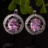 925 Sterling Silver zirconium Umbilicaria Earrings