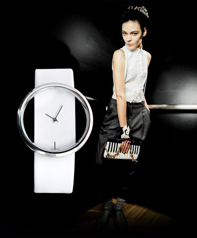 Big Dial Transparent Hollow Skeleton Women's Wristwatch