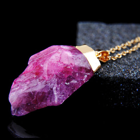 18K Gold Plated Rough Natural Stone Amethyst Crystal Druzy Necklaces