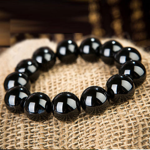 Natural Black Agate Beads Bracelet