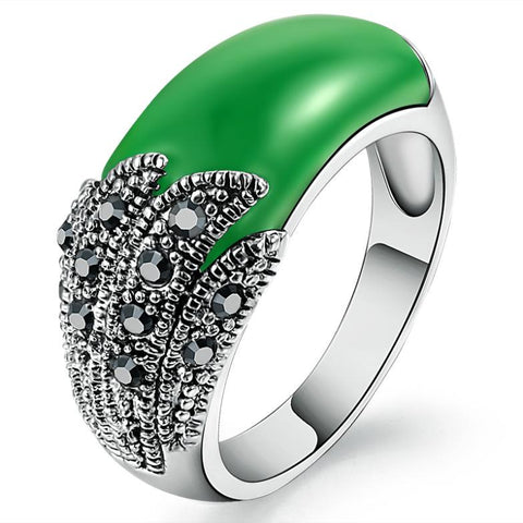 Women's Zirconium Diamond Emerald Gemstone Ring