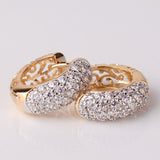 18k Gold Platinum Plated Hoop Huggie Cubic Zirconia Earrings For Women