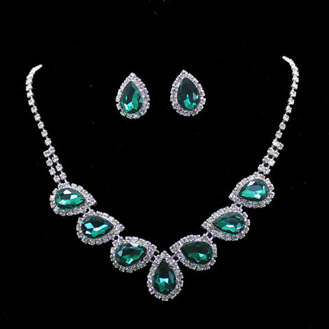 Green Emerald Pear Cut Swarovski Crystal Elements Clip on Earrings Necklace Sets