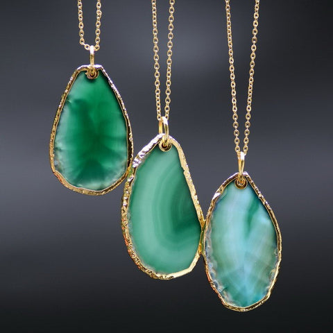 Gold Plated Agate Irregular Sliced Natural Stone Necklace & Pendant
