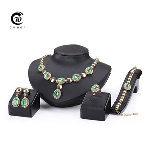 Sapphire Beads Collares Jewelry Sets For Women